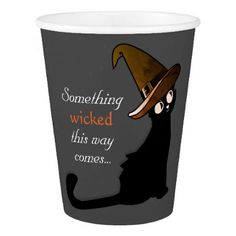 Halloween Cat Witch - Paper Cups - halloween decor diy cyo personalize unique party