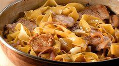 MEGATV COOK - Παπαρδέλες με ψαρονέφρι, λιαστές τομάτες και μαυροδάφνη Different Recipes, Pot Roast, Cake Recipes, Pork, Menu, Pasta, Healthy Recipes, Dishes, Cooking