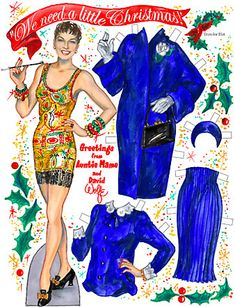 Auntie Mame ~ We need a little Christmas (love the Xmas scene in Auntie Mame, this paper doll has her famous blue outfit, gah, love!)