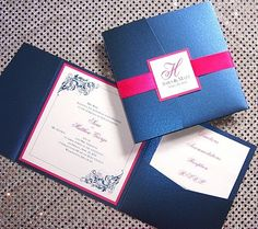 navy and pink invites