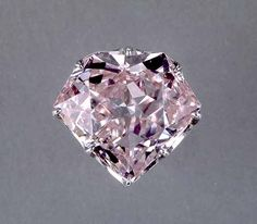 The Hortensia Diamond. The diamond, which weighs 20 carats (20.53 metric carats) is pale orangey-pink, rather flat and rectangular in shape and is cut on five sides