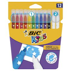 BIC Kids Colour Erase Magic Felt Pens - Assorted Colours Pack of 12 Statues-Busts Up-Costumes Toys Marker Pen, Permanent Marker, Bic Kids, Box Creative, Son Luna, Birthday List, Coloring For Kids, Doll Accessories, Markers