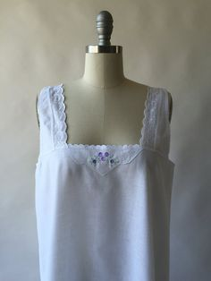 Antique white cotton nightgown with purple floral by CultOfChiffon