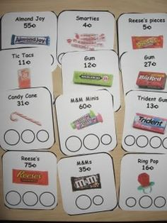 "variation on the money-matching game is playing ""candy shop"" where the ""customer"" gets ""candy"" (the pictured cards) in exchange for the listed price. Great for reinforcing monetary value as well as exploring the idea of working in a shop. Math Classroom, Kindergarten Math, Teaching Math, Preschool, Math For Kids, Fun Math, Economics For Kids, Math Resources, Math Activities"