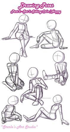 Sitting Calm / Happy Poses: Here is a quick reference page for calm or happy sit. - Sitting Calm / Happy Poses: Here is a quick reference page for calm or happy sitting poses. For mor - Drawing Body Poses, Drawing Reference Poses, Sitting Pose Reference, Anatomy Reference, Drawing Techniques, Drawing Tips, Sketching Tips, Drawing Ideas, Drawing Drawing