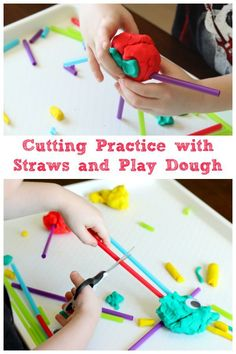 Cutting practice for preschoolers. Developing fine motor skills with straws and play dough.