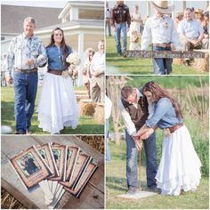 Western Wedding Outdoor Ceremony. Love the skirt (in a color maybe)and denim top for bridesmaids.....