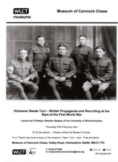 Forthcoming Events – Museum of Cannock Chase – World War 1 Lecture