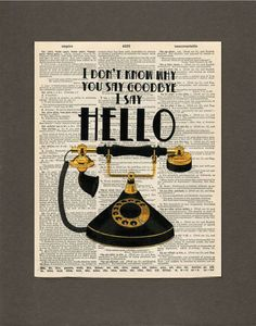 Vintage Telephone Beatles Quote Dictionary by HeatherwoodArtPrints