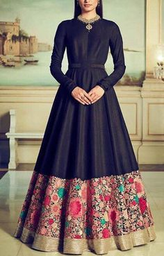 Black silk indo western gown with floral colourful thread embroidery/ designer black Indian dress evening wear with embroidered border - - Source by Indian Bridesmaid Dresses, Party Wear Indian Dresses, Gown Party Wear, Indian Gowns Dresses, Indian Wedding Outfits, Gowns For Party, Indian Outfits Modern, Indian Weddings, Black Indian Gown