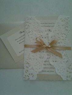 Vintage wedding invites, hand made with pearl doilies.