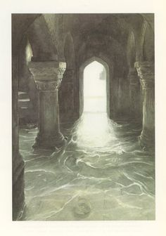 Alan Lee - I know this isn't supposed to be it, but this reminds me of the scene toward the end of Sabriel (under the castle, in the water, looking for her father), only, a bit too much light....