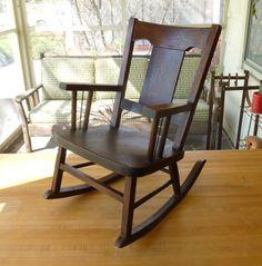 pictures vintage children's rocking chair | Antique Arts & Crafts Oak Wood Children's Rocking Chair Old Vintage ...
