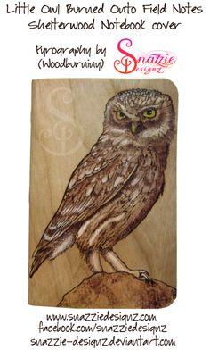 Owl Pyrograph (Wood Burning) Pocket Notebook by snazzie-designz on DeviantArt Little Owl, Pocket Notebook, Field Notes, Pyrography, Wood Burning, Handmade Crafts, Deviantart, Bird, Artwork