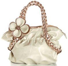 CANDICE Flower Metallic Gold / Copper Soft Leatherette Metallic Weaved Double Handle Shoulder Bag Satchel Hobo Purse Handbag