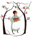 """Amy's Apples"" by P Buckley Moss. Issued 2000. Image Size: 9 x 7-3/4 ins. Rare @ Issue Price: $70."