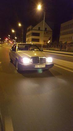 Slow mo night ride mercedes benz 124