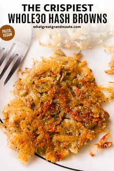 ULTRA CRISPY Whole30 hash browns are everyone's favorite breakfast item. Included are the best tips to get crispy diner-style hash browns with simple, easy ingredients. They are perfect with a side of bacon and eggs, and so quick to make. These are paleo and vegan as well! #paleo #vegan #whole30 #whole30breakfast #paleobreakfast