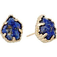 Kendra Scott Tessa Earring (Gold/Raw Cut Lapis) Earring ($60) ❤ liked on Polyvore featuring jewelry, earrings, 14 karat gold stud earrings, gold jewellery, yellow gold stud earrings, 14 karat gold jewelry and gold post earrings