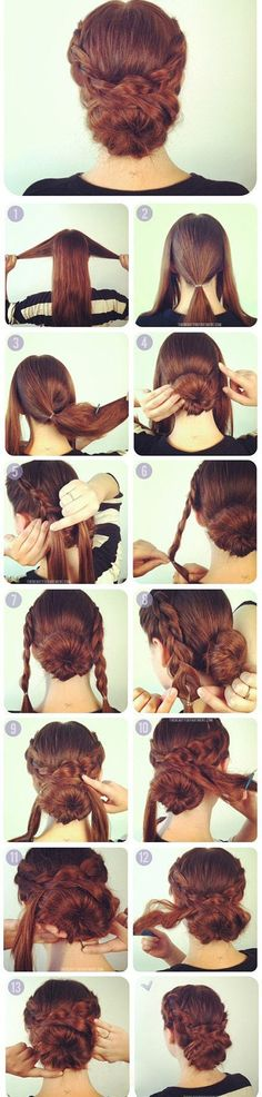 Learn this! Braids wrapped around a low bun. Add a small top hat and go go go for a lovely steampunk hairdo