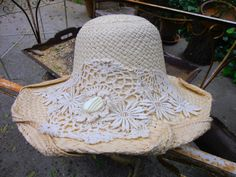 Feminine & Flirty Hand Blocked Straw Hat with Vintage Crochet and Ivory Button by floradorahats on Etsy