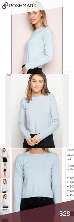 "NWT Baby Blue Gracie Knit Sweater Super soft and lightweight pullover knit in baby blue with a crewneck front and a semi-cropped length. 53% viscose, 47% polyamide 19"" length, 15"" bust. Best fits size XS to s. Brandy Melville Sweaters Crew & Scoop Necks"