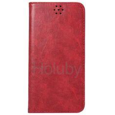 Automatische Absaugung Verrücktes Muster-Halter-Standplatz-TPU   PU-Leder Tasche für iPhone 6 Plus 6S Plus-Rot