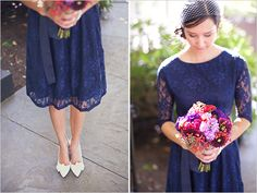 Navy lace dress with colorful florals.