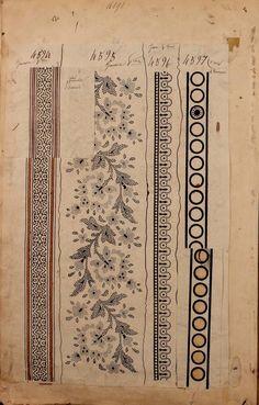 1863 - [French textiles] sample books by the Maison Robert firm, Paris; Textile Patterns, Textile Prints, Textile Design, Print Patterns, Textile Art, Surface Pattern Design, Pattern Art, Paisley Pattern, Vintage Textiles