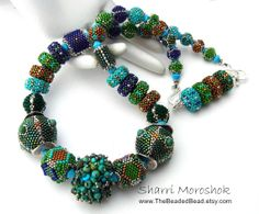 Peacock Beaded Bead Necklace by Sharri Moroshok by TheBeadedBead, $550.00