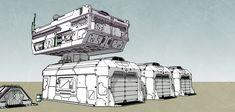 Sci-fi  storage buildings by racerx11080