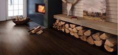 BOEN - Smoked Oak and fire place