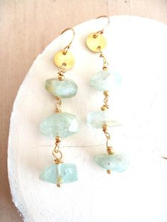 Aquamarine earrings March birthstone earrings blue gemstone nugget earrings Gift for her Under 125 Aquamarine Earrings, Aquamarine Gemstone, Blue Gemstones, Aqua Marine, Statement Earrings, Birthstones, Gifts For Her, Birth Stones