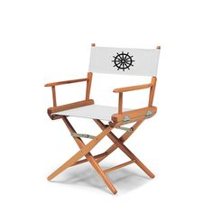 Varnish World Famous Director Chair- Dining Height - White W/Black Motif Cover