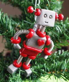 Red Raxie JetPack ROBOT CHRISTMAS ORNAMENT  by RobotsAreAwesome