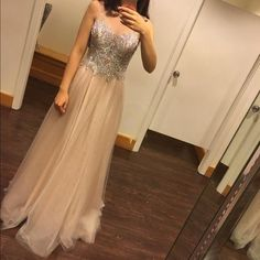 Cheap Prom Dresses 2017 Gorgeous Rhinestone Beaded Top Long A-line Sheer Tulle Prom Dresses,Fashion Prom Dress,Sexy Party Dress,Custom Made Evening Dress Elegant Prom Dresses, Prom Dresses 2017, Lace Evening Dresses, Cheap Prom Dresses, Long Dresses, Gowns 2017, Chiffon Dresses, Dresses Dresses, Fall Dresses