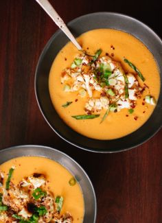 Thai Curried Butternut Squash Soup Try adding a chopped apple and using sour cream/maple syrup in place of coconut cream