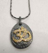 Hammered Oxidized Silver #Om #Aum necklace #yogajewelry