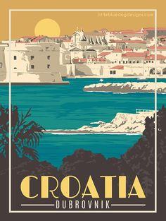 Croatia Dubrovnik - Vintage Travel Poster - New Ideas Retro Poster, Poster Art, Vintage Travel Posters, Poster Prints, Vintage Design Posters, Vintage Travel Wedding, Vintage Travel Themes, Vintage Travel Trailers, Vintage Travel Bedroom