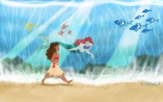 Parting the ocean. Moana and Ariel