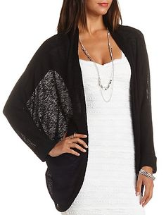 Ribbed Cocoon Duster Cardigan: Charlotte Russe #black #cardigan #charlotterusse