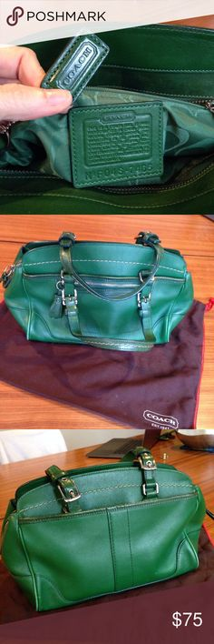 """Coach little satchel - kelly green Coach kelly Green 7"""" H x 10"""" L x 4.5"""" W. Green inside, one zip, two free pockets, key hook. Three external pockets: one zip, one button, one open. Coach code F04S7465. Very very good used condition, except for scuffing shown on side piping areas. As the bag aged, the greens of the different grades (?) of leathers stopped perfectly matching. Jus thought I'd better mention that. Coach Bags Satchels"""
