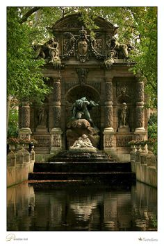 The Medici Fountain (fr: La fontaine Médicis) is a monumental fountain in the Jardin du Luxembourg in the arrondissement in Paris. It was built in about 1630 by Marie de' Medici, the widow of King Henry IV of France and regent of King Louis XIII of Fr Beautiful World, Beautiful Gardens, Beautiful Places, The Places Youll Go, Places To See, Parks, Luxembourg Gardens, Foto Art, Belle Photo