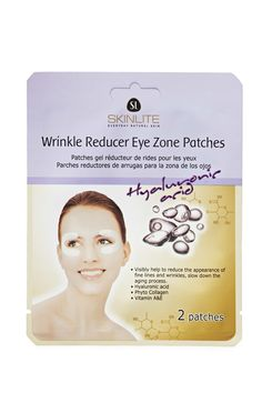 A set of anti-aging eye treatment patches by Skinlite™ featuring hyaluronic acid, phyo-collagen, vitamins A and E to visibly help to reduce the appearance of fine lines and wrinkles.