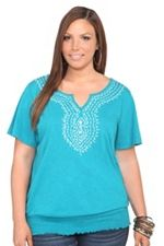 Turquoise Embroidered Smocked Peasant Top Torrid