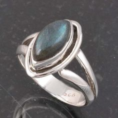 BLUE FIRE LABRADORITE 925 SOLID STERLING SILVER FASHION RING 3.90g DJR6410 #Handmade #Ring