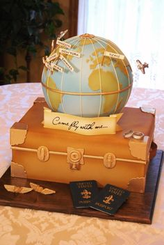 this would be a great graduation cake for my son, the world traveler.