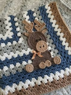 Handmade crochet granny square baby blanket that is extra soft. Attached with a moose applique. Scrap Yarn Crochet, Crochet Bebe, Crochet Cross, Crochet Applique Patterns Free, Crochet Blanket Patterns, Baby Blanket Crochet, Elephant Blanket, Baby Blanket Size, Crochet Mermaid
