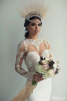 Feel Like a Queen In This Modern Lace Gown Crowned With a Contemporary Crystal Headpiece. Amazing Wedding Dress, Long Wedding Dresses, Wedding Veils, Bridal Dresses, Glamorous Wedding, Luxury Wedding, Gif Fashion, Modern Fashion, Laser