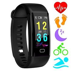Fitness Trackers,Homore Color Screen Heart Rate Monitor Activity Tracker Bluetooth Pedometer,IP68 Water Resistant Smart Bracelet Wristband with Sleep Monitor,Alarm,Step Tracker for iOS & Android--30.99 Check more at https://www.uksportsoutdoors.com/produc #fitnesstrackerwithheartratemonitor